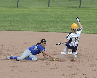 Katie Rickman } The Vindicator.Tallmadge's Brianna Idell (no. 8) is safe at second base as Poland's Brielle Nocera attempts to tag her out during the second inning of the tournament in Akron May 28, 2014.