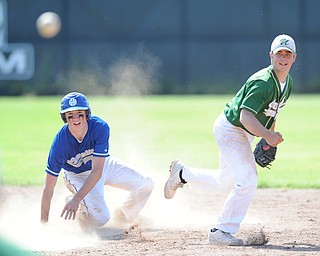 MASSILLON, OHIO - MAY 29, 2014: Infielder Joel Hake throws the ball to first base, to turn the game ending double play after stepping on second base to force out base runner Charlie Finucan #20 of Gilmore Academy during a OHSAA tournament game at Massillon Washington High School. Ursuline won 7-5. (Photo by David Dermer/Youngstown Vindicator)