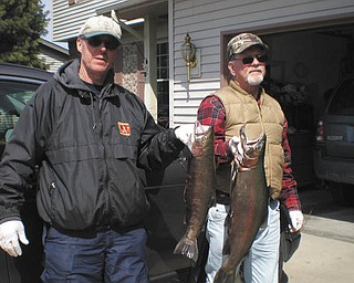 Russ Palusak of Boardman, left, and Steve Horvat of Canfield, display their catch in the fall of 2013 at the Grand River in Painesville.
