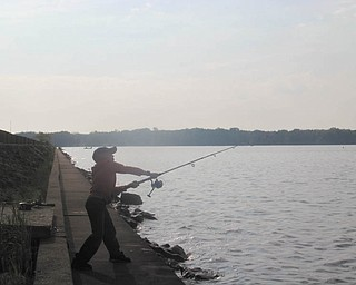 Zakariah Holm demonstrates a perfect casting technique at Mosquito Creek Lake State Park, taken May 22 by TJ Keiran.