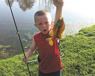 Little Anthony Pastella loves to fish and says ÒWowÓ look what I caught this time! Sent in by great-grandma Millie Valentino.