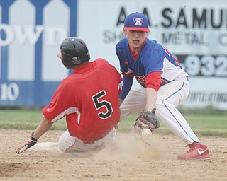 Western Reserve shortstop Tristan Bova, right, awaits a throw as Mathews' Cobie Pratt (5) slides in safely at second base during a Division IV disrict final at Bob Cene Park. Bova and the Blue Devils are preparing for Thursday's state semifinal.