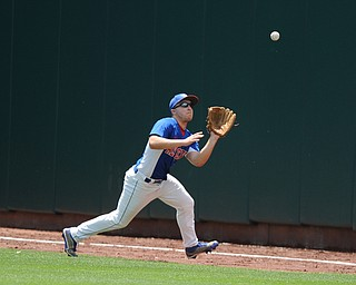 COLUMBUS, OHIO - JUNE 5, 2014: Outfielder Dan Zilke #6 of Reserve gets under a fly ball for the 1st out in the bottom of the 2nd inning during a OHSAA state semi-final game at Huntington Park. Newark Catholic won 6-2. (Photo by David Dermer/Youngstown Vindicator)