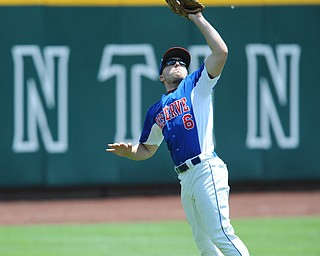 COLUMBUS, OHIO - JUNE 5, 2014: Outfielder Dan Zilke #6 of Reserve jumps to catch a fly ball for the 3rd out in the top of the 3rd inning, this would prevent a run from scoring during a OHSAA state semi-final game at Huntington Park. Newark Catholic won 6-2. (Photo by David Dermer/Youngstown Vindicator)