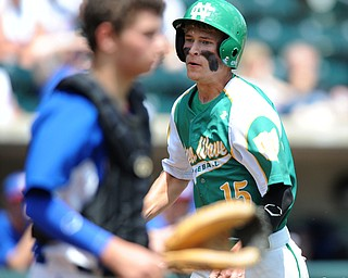 COLUMBUS, OHIO - JUNE 5, 2014: Base runner Mitch Lohr #15 of Newark Catholic sprints home to score a run in the bottom of the 6th inning during a OHSAA state semi-final game at Huntington Park. Newark Catholic won 6-2. (Photo by David Dermer/Youngstown Vindicator)