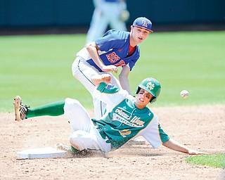 Newark Catholic's Zach Wollenburg (12) steals second base as the throw eludes Western Reserve's Wyatt Larimer during the bottom of the third inning Thursday at Huntington Park in Columbus. Newark Catholic beat Western Reserve, 6-2, in a Division IV state semifinal. The Green Wave will meet Defiance Tinora in the state final Saturday.