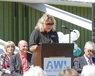 ROBERT K. YOSAY    THE VINDICATOR.. Kerry S. Pettit Ex Dir of AWL. .Animal Welfare League of Trumbull county ribbon cutting on Belmont Ave across from Squaw Creek in Vienna.
