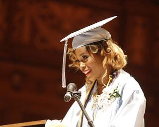 ROBERT K. YOSAY    THE VINDICATOR.. Valedictorian  Angel Bell... East  High School   graduation Friday morning at Stambaugh Auditorium
