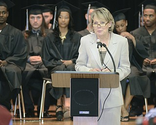 Katie Rickman | The Vindicator.Judge Theresa Dellick welcomes family and friends to the Mahoning County High School graduation.