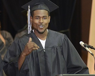 Katie Rickman | The Vindicator.Keyshawn Johnson speaks at the Mahoning County High School commencement ceremony.