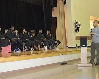 Katie Rickman | The Vindicator.Keynote Speaker Jamaine Cook addresses the graduating class at the Mahoning County High School graduation.