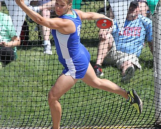 Nicotette Kreatsoulas of Poland throws the discus in the finals of the Division 2 State Track Meet at the Jesse Owens Memorial Stadium in Columbus, Ohio, Friday, June 6, 2014. (Photo/Mark Hall)