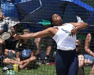 Jai' Lynn Mosley of McDonald releases the discus in the Division 3 State Meet at the Jesse Owens Memorial Stadium in Columbus, Ohio, Friday, June 6, 2014. (Photo/Mark Hall)