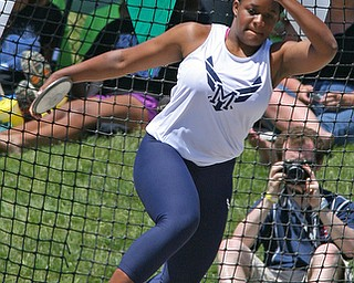 Jai' Lynn Mosley of McDonald spins as she prepares to throw the discus in the Division 3 State Meet at the Jesse Owens Memorial Stadium in Columbus, Ohio, Friday, June 6, 2014. (Photo/Mark Hall)