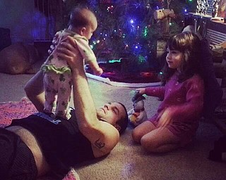 Sophia with her baby brother, Quinn, 3 months, are spending Christmas Eve with their daddy, Joshua. Submitted by Nana Barb Barringer.
