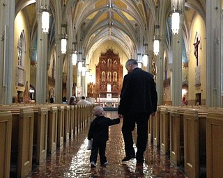 Jerry Ambrosia with his grandson, Dominic Ambrosia, at Dominic's uncle Michael's wedding in Cleveland last August.
