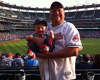 Michael Cole, 8 months, attended his first Cleveland Indians game May 20 with Daddy, Joe Cole. Sent by Mommy, Jill Cole. All live in Boardman.
