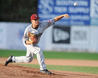 JAMESTOWN, NEW YORK - JUNE 13, 2014: Starting pitcher Sean Brady #8 throws a pitch during the the bottom of the 1st inning during a game at Russell Diethrick Park. (Photo by David Dermer/Youngstown Vindicator)