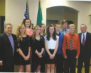 SPECIAL TO THE VINDICATOR Youngstown Wolves Club presented scholarships at a banquet May 16. From left are Joseph Meranto, Wolves scholarship chairman; scholarship recipients Kayle Augustine, Rachel Marchese, Jessica Augustine, Britnee Grantz, Alyssa Zorzi, James Field, Joseph Sebest and Kevin McNally; and David DiGiacomo, president of Wolves.