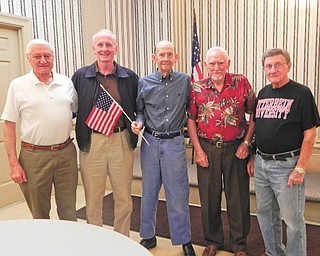SPECIAL TO THE VINDICATOR Youngstown Lions Club honored veterans Don Mathews, Dennis McMahon, Parker McHenry, Roy Reese and George Kolesar.