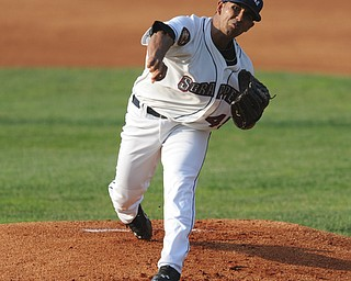 NILES, OHIO - JUNE 17, 2014: Pitcher Anthony Vizcaya #45 of the Scrappers throws a pitch during the top of the 1st inning during Tuesday nights New York Penn League game at Eastwood Field. (Photo by David Dermer/Youngstown Vindicator)
