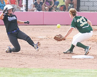 Trumbull All-Star Hannah Petrosky of Lakeview slides into second base as Mahoning's McKenzie Stimpert of Ursuline goes for the ball during the Mahoning & Trumbull Fast-pitch Senior All-Star Game on Wednesday at the Youngstown State softball complex. Trumbull swept the doubleheader.