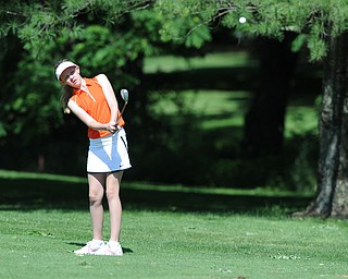 HERMITAGE, PENNSYLVANIA - JUNE 20, 2014: Jenna Jacobson of Poland chips her shot from the fairway toward the green on the 13th hole Friday morning at Tam O'Shanter golf course during the Vindy Greatest Golfer tournament. (Photo by David Dermer/Youngstown Vindicator)