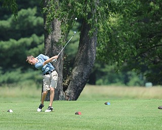 SALEM, OHIO - JUNE 23, 2014: Daniel Lapolla of Warren tees off on the 12th hole Monday afternoon at the Salem Golf Club during the Vindy Greatest Golfer tournament. (Photo by David Dermer/Youngstown Vindicator)