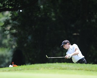 SALEM, OHIO - JUNE 23, 2014: Michael Butch of Austintown chips his ball from the short rough onto the green on the 15th hole on Monday afternoon at the Salem Golf Club during the Vindy Greatest Golfer tournament. (Photo by David Dermer/Youngstown Vindicator)