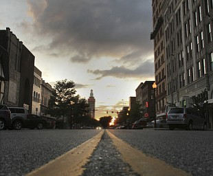 William D. Lewis The Vindicator  Looking West on Federal St at sunset in downtown Youngstown.