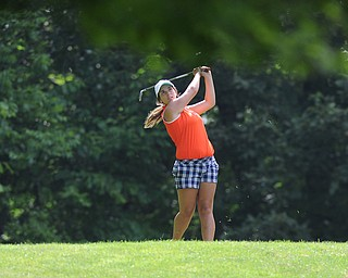 CANFIELD, OHIO - JUNE 30, 2014: Tori Augustine of Boardman tees off on the 8th hole Monday morning at Diamondback Golf Course during the Vindy Greatest Golfer of the Valley tournament. (Photo by David Dermer/Youngstown Vindicator)