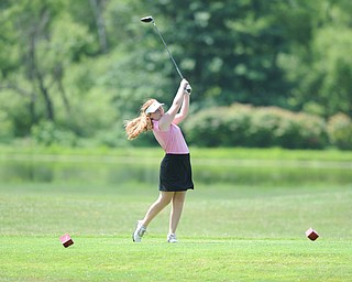 CANFIELD, OHIO - JUNE 30, 2014: Emily Marcavish of Liberty tees off on the 7th hole Monday morning at Diamondback Golf Course during the Vindy Greatest Golfer of the Valley tournament. (Photo by David Dermer/Youngstown Vindicator)