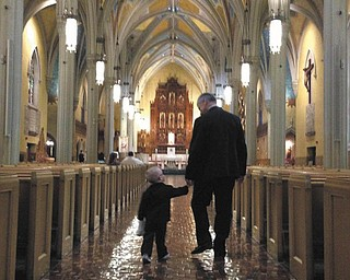 Jerry Ambrosia is walking his grandson Dominic Ambrosia down the isle at Michael and Megan AmbrosiaÕs wedding in Cleveland in July of 2013.