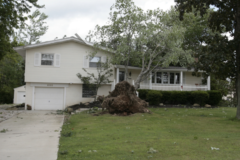ROBERT K. YOSAY  | THE VINDICATOR...a House had a tree land on its roof at the 6100 block of Herbert Rd as a late afternoon storm knocked out electric...  -30-