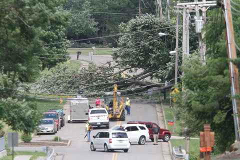 ROBERT K. YOSAY  | THE VINDICATOR...Electric was cut and Herbert Rd was closed in the city of Canfield near Blueberry hill as a huge maple fell across the road....  -30-