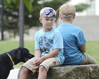 KATIE RICKMAN | THE VINDICATOR.Grant Lyda, 6, sits back to back with his brother, 7-year-old Luke Lyda, at the Summer Festival of the Arts Saturday. Their dog, Daisy, stands beside them. The boys live in Warren.