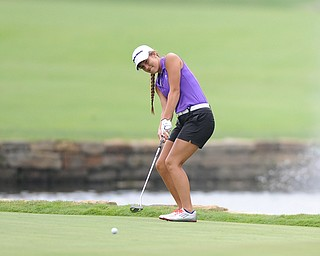 WARREN, OHIO - JULY 27, 2014: Nicole Gula reacts after her putt comes up shot not he 9th hole Sunday afternoon at Avalon Lakes Country Club during the Vindy Greatest Golfer Tournament. (Photo by David Dermer/Youngstown Vindicator)