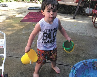 Jaxson Mcvay at his Baba's swimming pool in Girard, Sent by Baba, Ann Blazina.