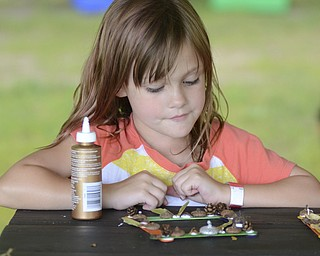 Katie Rickman | The Vindicator.Livi Phillips, 6, of Liberty makes a picture frame at Family Camp where families camped out at the Wick Recreation Area at Mill Creek MetroPark August 9, 2014.
