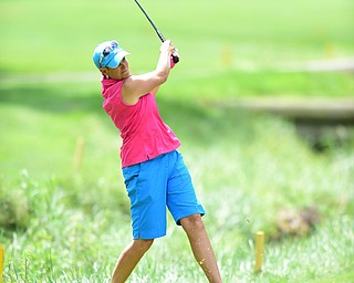 YOUNGSTOWN, OHIO - AUGUST 23, 2014: Tony Notaro cups out of the long rough next to a creek on the front 9 of the Youngstown Country Club during the Vindy Greatest Golfer Tournament. (Photo by David Dermer/Youngstown Vindicator)
