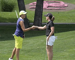 .          ROBERT  K. YOSAY | THE VINDICATOR..Toni Notaro congratulates Katie Rogner on the 18th hole after Katie won the women's open ..GGOV at The Lake Club in Poland -...-30-