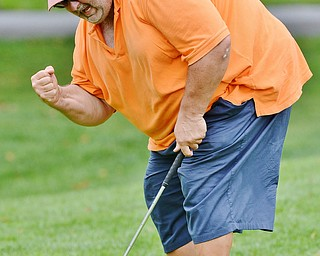 Jeff Lange | The Vindicator  Tony Sandy celebrates after he sinks his putt on his final hole of the day. Sandy later went to sudden death with Ryan Griffith resulting in a last-minute loss for Sandy, Sunday afternoon in Poland.