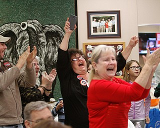 ROBERT K. YOSAY  | THE VINDICATOR..Trump supporters at the Republican HQ in Boardman  cheer and clap and yell as  he wins state after state...Election 2016...  . - -30-...