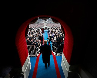 President-elect Donald J. Trump arrives on Capitol Hill in Washington, Friday, Jan. 20, 2017, for his presidential inauguration ceremony.  (Doug Mills/Pool Photo via AP)
