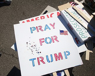 Signs sit on a workbench at the Summitville Tile parking lot on 224, Saturday, March 4, 2017 in Boardman. ..(Nikos Frazier   The Vindicator)..