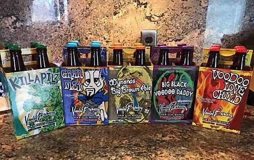 The line-up of Voodoo Brewing Co. beers sampled by the Mahoning Valley Flight Crew.