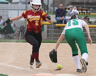 William D. Lewis The Vindicator  WB's Ashley Weber(15) misses the throw as Mooney's Gia DiFabio(2)is safe at 1rst during 4-19-17 action at Fields of Dreams.
