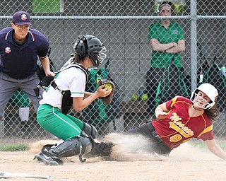 William D. Lewis The Vindicator Mooney's Bridget Sweeney(8) is out at the plate as WB catcher Bailey Byers makes the tag during 4-19-17 action at Fields of Dreams.