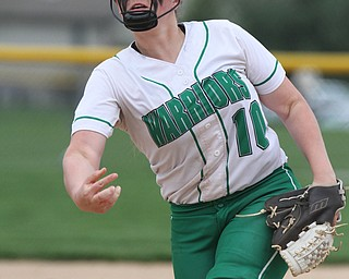 William D. Lewis The Vindicator  WB's pitcher Kelsey Byers (10) delivers during 4-19-17 win over Mooney at Fields of Dreams.