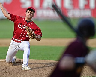 COLUMBIANA, OHIO - APRIL 20, 2017: Columbiana starting pitcher Mitch Davidson, left, delivers to Anthony Ritter (9) in the fifth inning of Thursday evenings game at Firestone Park. Columbiana won 4-2. DAVID DERMER   THE VINDICATOR